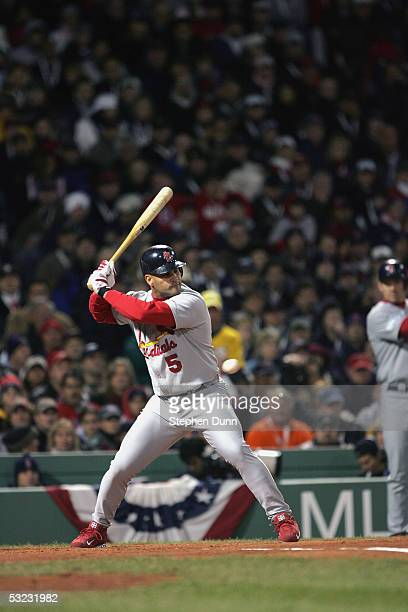 Albert Pujols of the St Louis Cardinals bats against the Boston Red Sox during game one of the 2004 World Series on October 23 2004 at Fenway Park in...