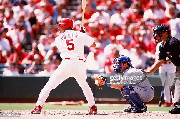 Albert Pujols of the St Louis Cardinals bats against the Los Angeles Dodgers on September 9 2001