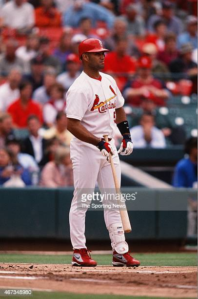 Albert Pujols of the St Louis Cardinals bats against the Milwaukee Brewers on September 19 2001