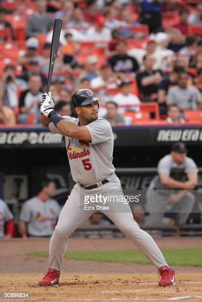 Albert Pujols of the St Louis Cardinals bats against the New York Mets on May 18 2004 at Shea Stadium in Flushing New York The Mets won 54