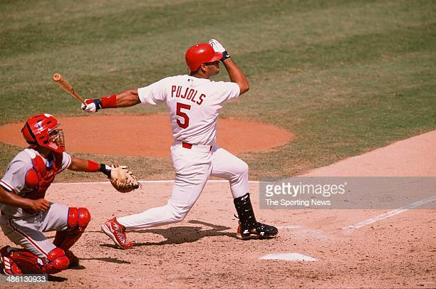 Albert Pujols of the St Louis Cardinals bats against the Philadelphia Phillies at Busch Stadium on August 19 2001 in St Louis Missouri The Cardinals...