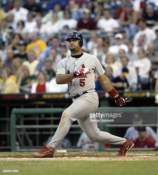 Albert Pujols of the St Louis Cardinals bats against the Pittsburgh Pirates during a Major League Baseball game at PNC Park on June 3 2004 in...