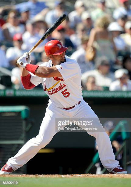 Albert Pujols of the St Louis Cardinals bats against the Washington Nationals during a spring training game at Roger Dean Stadium on February 28 2009...