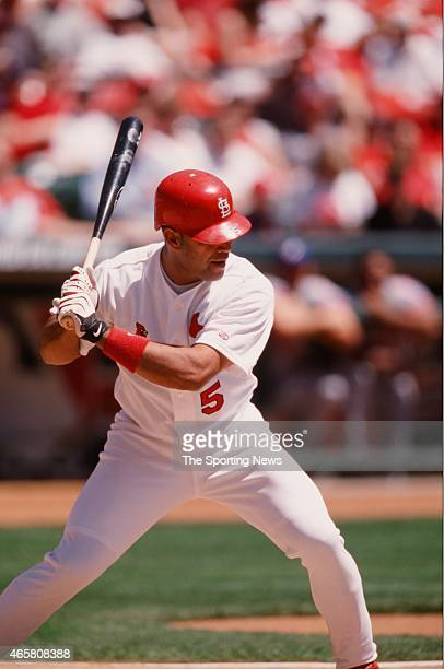 Albert Pujols of the St Louis Cardinals bats during a game against the Montreal Expos on April 26 2001
