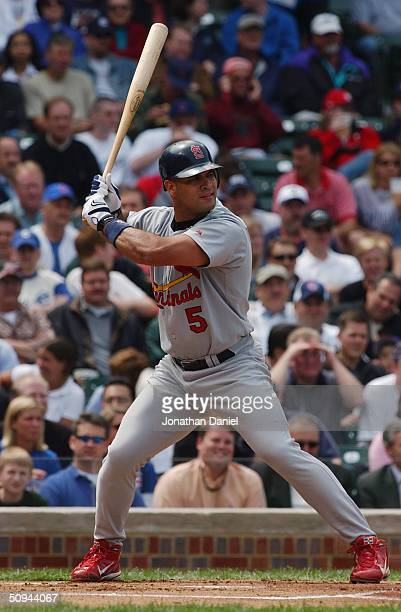 Albert Pujols of the St Louis Cardinals bats during a game against the Chicago Cubs on May 21 2004 at Wrigley Field in Chicago Illinois The Cardinals...