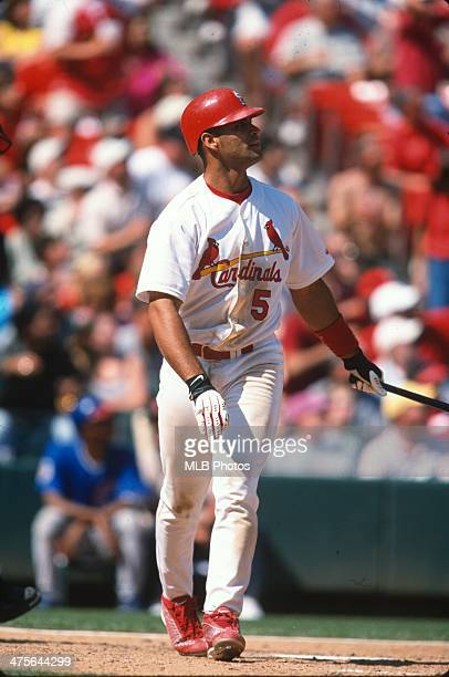 Albert Pujols of the St Louis Cardinals bats during a Game at Busch Stadium on Saturday May 12 2001 in St Louis Missouri