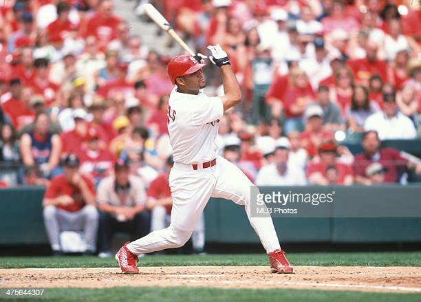 Albert Pujols of the St Louis Cardinals bats during a Game at Busch Stadium on Saturday April 14 2001 in St Louis Missouri