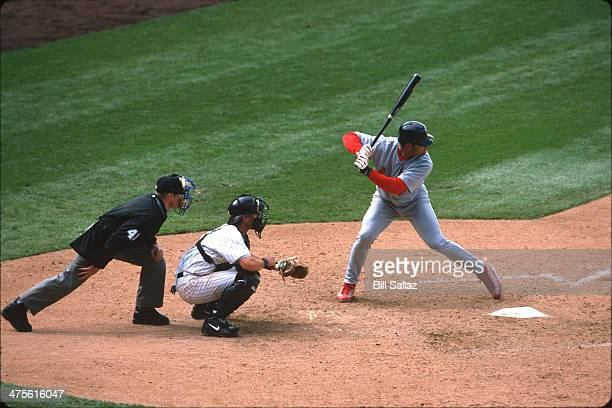 Albert Pujols of the St Louis Cardinals bats during a Game at Coors Field on Thursday April 5 2001 in Denver Colorado