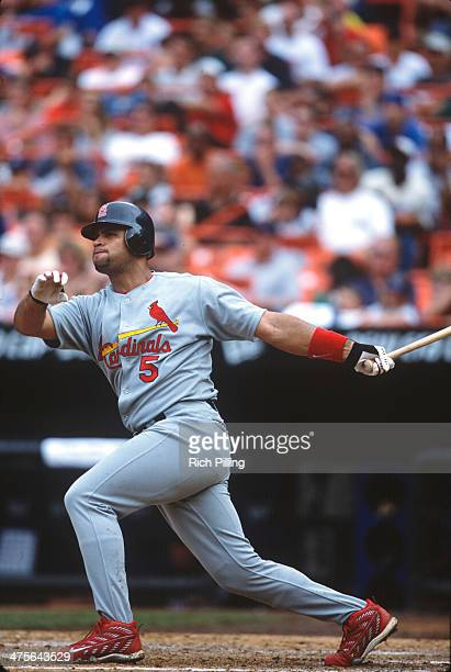 Albert Pujols of the St Louis Cardinals bats during a Game at Shea Stadium on Saturday August 11 2001 in New York New York