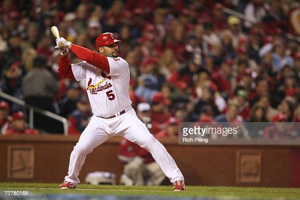 Albert Pujols of the St Louis Cardinals bats during Game Five of the 2006 World Series on October 27 2006 at Busch Stadium in St Louis Missouri The...