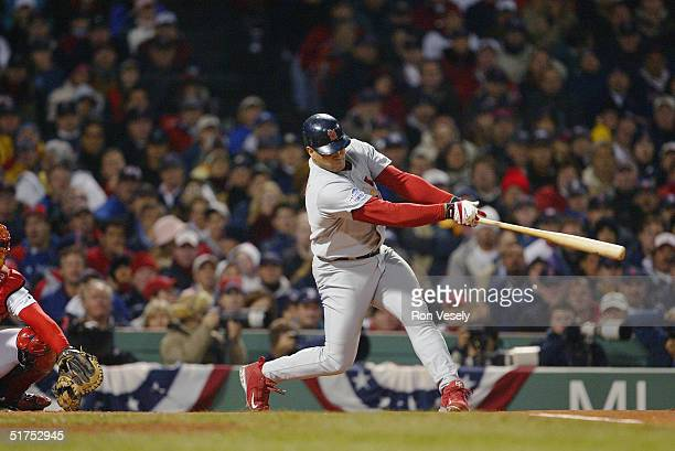 Albert Pujols of the St Louis Cardinals bats during game two of the 2004 World Series against the Boston Red Sox at Fenway Park on October 24 2004 in...