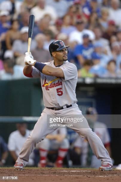 Albert Pujols of the St. Louis Cardinals bats during the game against the Kansas City Royals at Kauffman Stadium in Kansas City, Missouri on June 28,...
