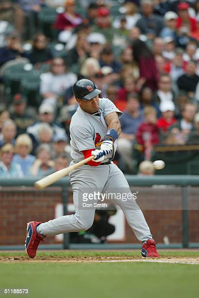 Albert Pujols of the St Louis Cardinals bats during the MLB game against the San Francisco Giants at SBC Park on August 1 2004 in San Francisco...
