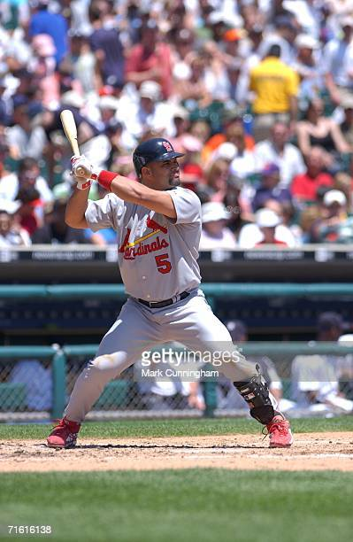 Albert Pujols of the St Louis Cardinals batting during the game against the Detroit Tigers at Comerica Park in Detroit Michigan on June 25 2006 The...