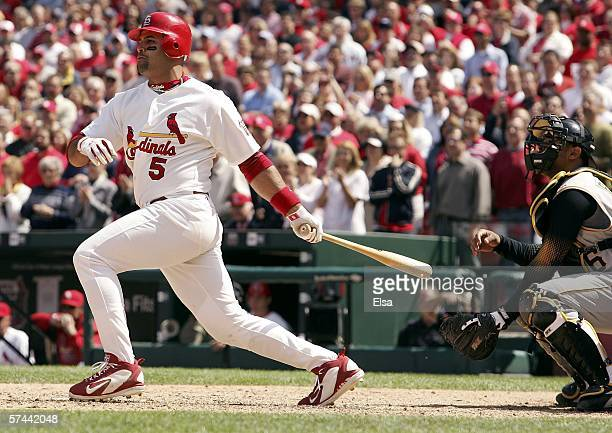 Albert Pujols of the St Louis Cardinals drives in the gamewinning run with an RBI single in the bottom of the 9th inning against the Pittsburgh...