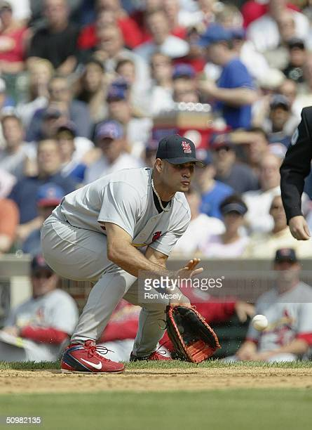 Albert Pujols of the St Louis Cardinals fields a ground ball at first base during the game against the Chicago Cubs at Wrigley Field on May 21 2004...