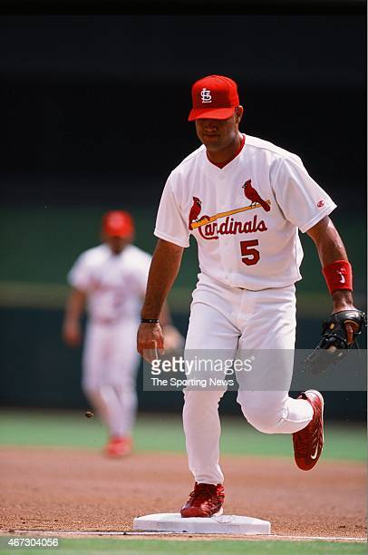 Albert Pujols of the St Louis Cardinals fields against the San Diego Padres on August 30 2001