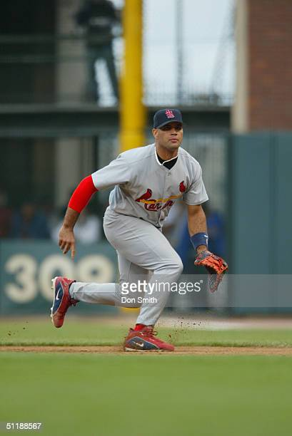Albert Pujols of the St Louis Cardinals fields during the MLB game against the San Francisco Giants at SBC Park on August 1 2004 in San Francisco...