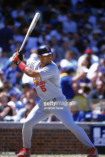 Albert Pujols of the St Louis Cardinals gets ready at bat during the game against the Chicago Cubs at Wrigley Field on July 26 2001 in Chicago...