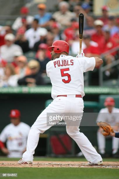 Albert Pujols of the St Louis Cardinals hits against the Minnesota Twins on March 29 2010 in Jupiter Florida