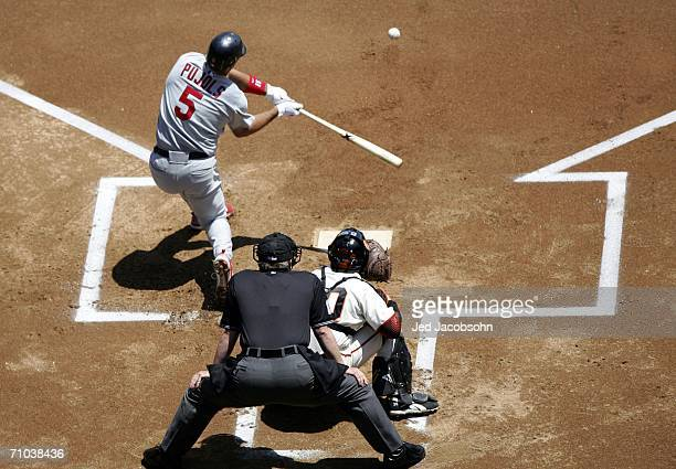 Albert Pujols of the St. Louis Cardinals hits into a double play against the San Francisco Giants at AT&T Park on May 24, 2006 in San Francisco,...