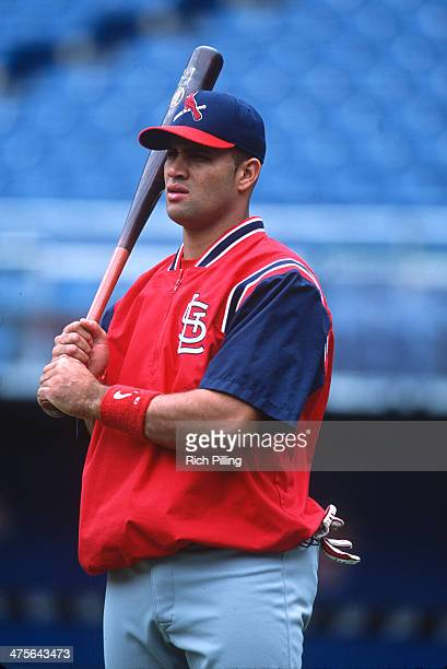 Albert Pujols of the St Louis Cardinals looks on during warmups prior a Game at Veterans Stadium on Sunday May 20 2001 in Philadelphia Pennsylvania