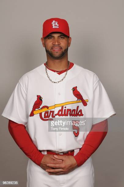 Albert Pujols of the St Louis Cardinals poses during Photo Day on Monday March 1 2010 at Roger Dean Stadium in Jupiter Florida