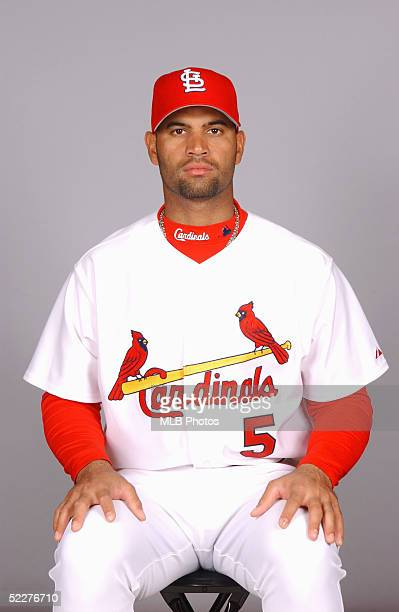 Albert Pujols of the St Louis Cardinals poses for a portrait during photo day at Roger Dean Stadium on February 25 2005 in Jupiter Florida