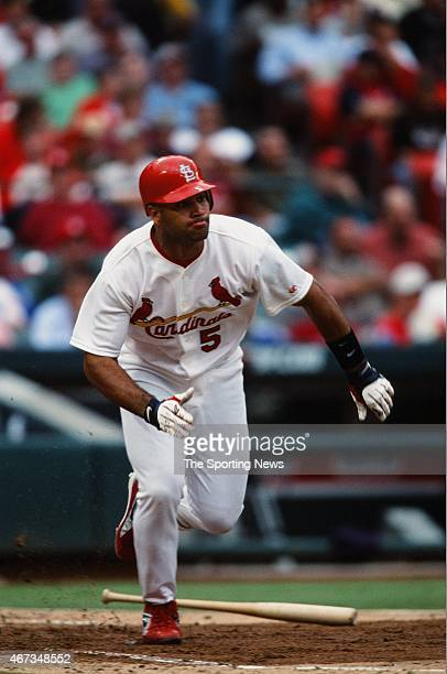 Albert Pujols of the St Louis Cardinals runs against the Milwaukee Brewers on September 19 2001