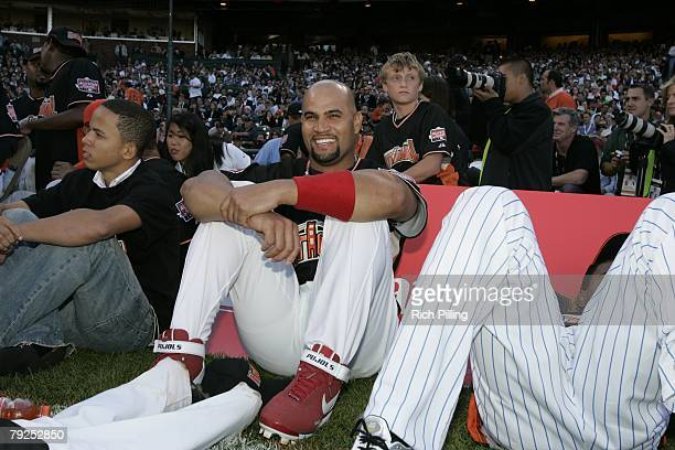 Albert Pujols of the St Louis Cardinals sits on field during the Home Run Derby at ATT Park in San Francisco California on July 9 2007