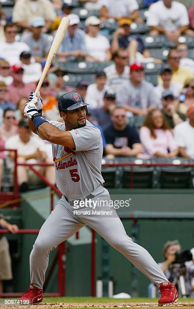 Albert Pujols of the St Louis Cardinals stands ready at bat during the interleague game against the Texas Rangers at Ameriquest Field on June 13 2004...