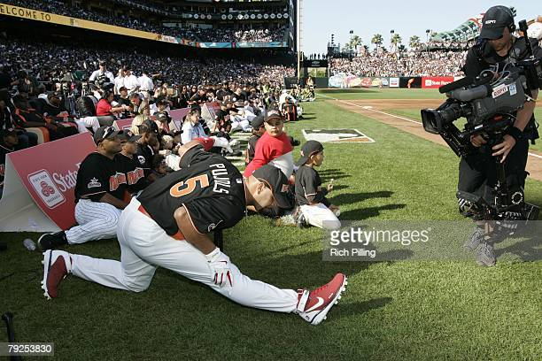 Albert Pujols of the St Louis Cardinals stretches before the Home Run Derby at ATT Park in San Francisco California on July 9 2007