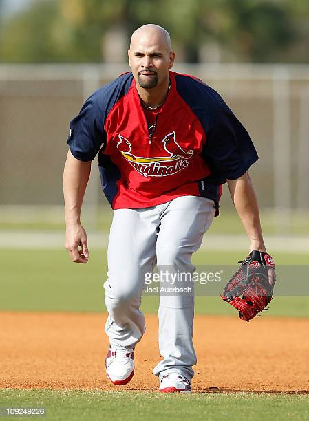 Albert Pujols of the St Louis Cardinals takes fielding practice at Roger Dean Stadium on February 17 2011 in Jupiter Florida
