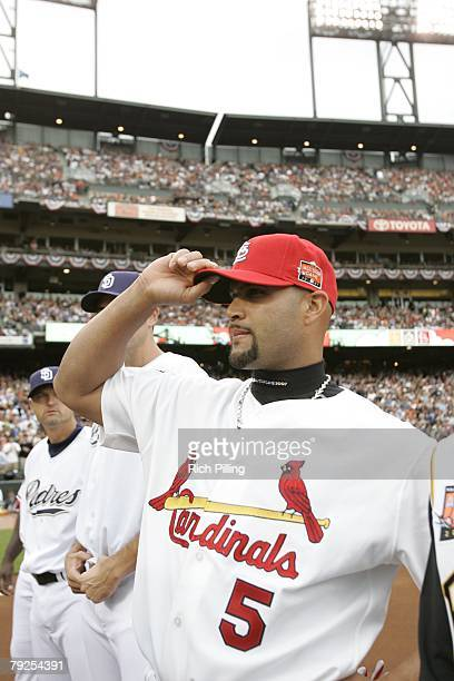 Albert Pujols of the St Louis Cardinals waves to audience before the 78th Major League Baseball AllStar Game at ATT Park in San Francisco California...