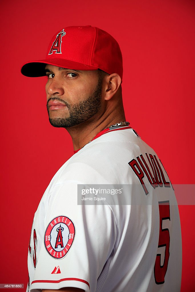 Albert Pujols #5 poses during Los Angeles Angels of Anaheim Photo Day on February 28, 2015 in Tempe, Arizona.
