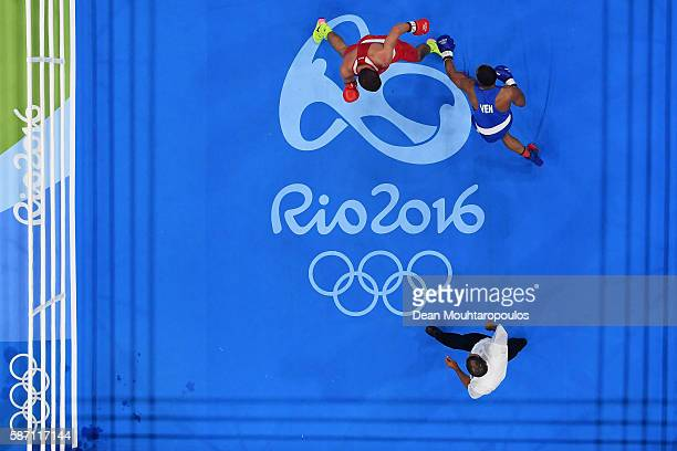 Albert Ramon Ramirez of Venezuela competes against Petr Khamukov of Russia in the Men's Light Heavy 81kg bout on Day 2 of the Rio 2016 Olympic Games...