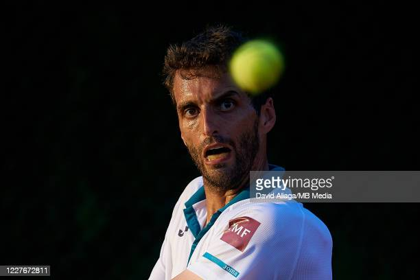 Albert Ramos of Spain in action in his singles match against Carlos Taberner of Spain during Day One of La Liga Mapfre at Club de Tenis Valencia on...