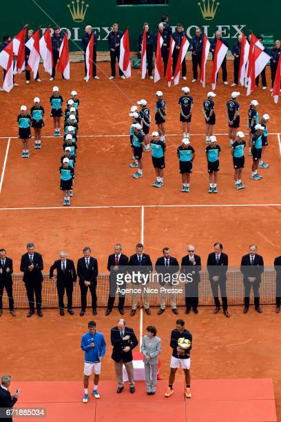 Albert Ramos Vinolas of Spain and Rafael Nadal of Spain and Prince Albert of Monaco and Elisabeth Anne de Massy during the Final of the Monte Carlo...