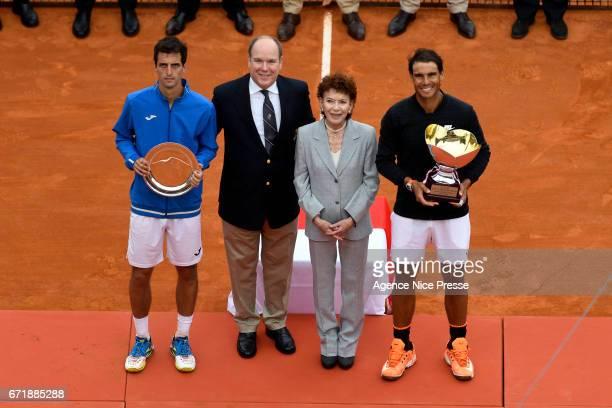 Albert Ramos Vinolas of Spain and Rafael Nadal of Spain and Prince Albert of Monaco and Elisabeth Anne de Massy during the Final of the Monte Carlo...