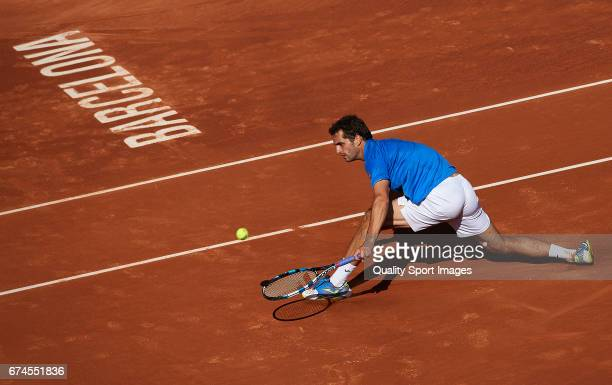 Albert Ramos Vinolas of Spain in action at his match against Andy Murray of Great Britain during the Day 5 of the Barcelona Open Banc Sabadell at the...