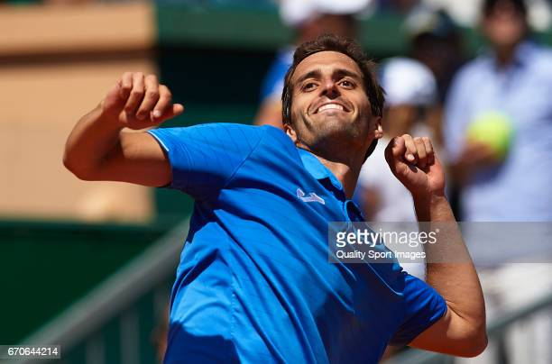 Albert RamosVinolas of Spain celebrates winning against Andy Murray of Great Britain during day five of the ATP Monte Carlo Rolex Masters Tennis at...