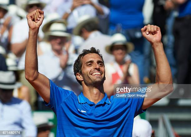 Albert RamosVinolas of Spain celebrates winning against Lucas Pouille of France in the men's singles semifinal match on day seven of the ATP Monte...