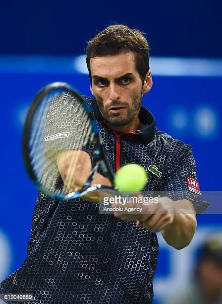 Albert Ramos-Vinolas of Spain in action against Karen Khachanov of Russia during the Men's final of ATP Chengdu Open in Chengdu, China on October 02,...