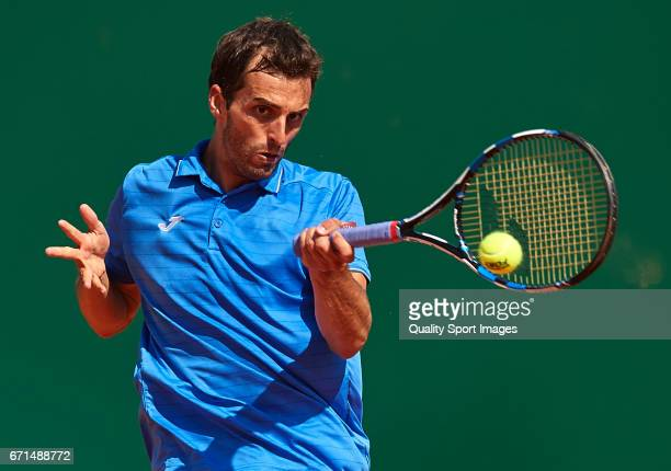 Albert RamosVinolas of Spain in action during the men's singles semifinal match against Lucas Pouille of France during day seven of the ATP Monte...