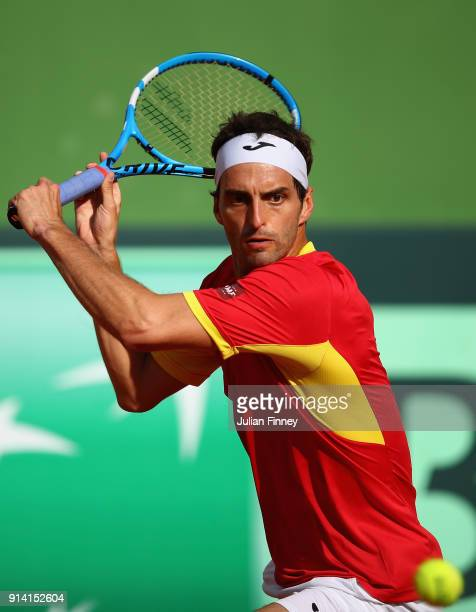 Albert RamosVinolas of Spain in action in his match against Cam Norrie of Great Britain during day three of the Davis Cup World Group first round...
