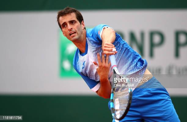 Albert Ramos-Vinolas of Spain in his mens singles first round match against Laso Djere of Serbia during Day one of the 2019 French Open at Roland...