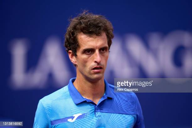Albert Ramos-Vinolas of Spain looks on in his third round match against Andrey Rublev of Russia during day four of the Barcelona Open Banc Sabadell...