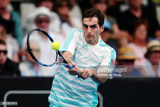 Albert RamosVinolas of Spain plays a backhand in his match against Joao Sousa of Portugal on day nine of the ASB Classic on January 10 2017 in...