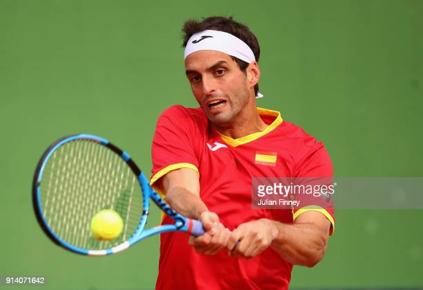 Albert RamosVinolas of Spain plays a backhand in his match against Cam Norrie of Great Britain during day three of the Davis Cup World Group first...