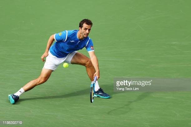 Albert RamosVinolas of Spain plays a forehand against Gael Monfils of France during their men's singles third round match on Day 8 of the BNP Paribas...